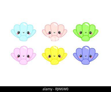 Cute Dibujos Animados Colorida Fauna Marina En Círculo Para