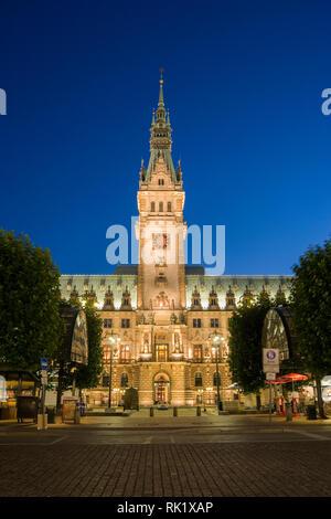 Hamburgo, Alemania; vista de la Rathaus (Ayuntamiento) en la noche