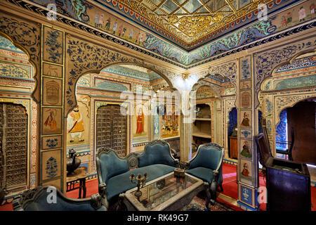 Foto de interiores adornados y decorados Kothari Patwa Haveli Jaisalmer, Rajasthan, India
