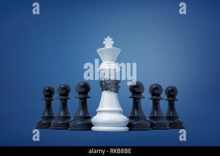 Representación 3D de un grupo de peones negros que han tomado cautivo y encadenado un rey blanco pieza.
