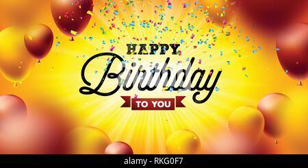 Feliz Cumpleaños diseño vectorial con balón, la tipografía y la caída de confeti sobre fondo amarillo. Ilustración para la celebración del cumpleaños de tarjetas de felicitación.