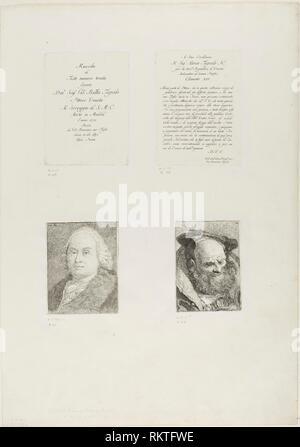 Página de título, dedicación, Retrato de Giambattista Tiepolo, barbado Viejo - 1775 - Giovanni Domenico Tiepolo italiano, 1727-1804 - Artista: Giovanni