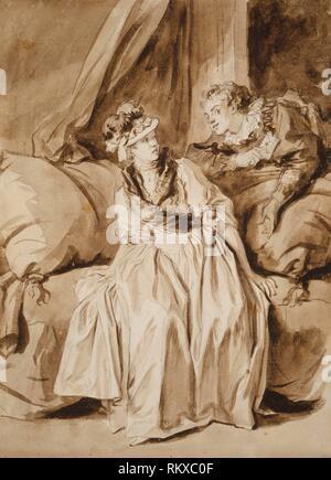 La Carta, o la conversación en español - c. 1778 - Jean-Honoré Fragonard francés, 1732-1806 - Artista: Jean Honoré Fragonard, Origen: Francia, Fecha: Foto de stock