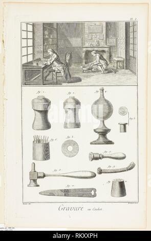 Sello grabado, de Encyclopédie - 1762/77 - Benoît-Louis Prévost (Francés, c. 1735-1809) después Antoine-Gaspard Boucher d'Argis (Francés, 1708-1791) Foto de stock