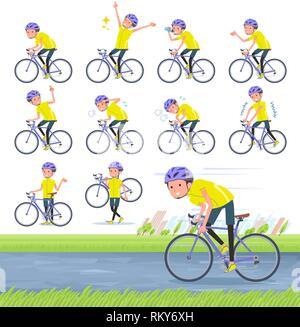 Un conjunto de hombre en ropa deportiva en una bicicleta de carretera.No es una acción que está disfrutando.Es arte vectorial, así que es fácil de editar.