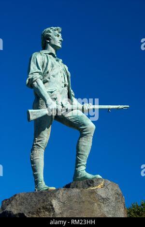 El capitán Parker estatua, Lexington Green, en Lexington, Massachusetts.