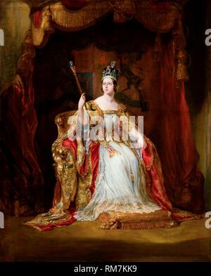 La reina Victoria del Reino Unido en el abrigo de coronación. Retrato de coronación por George Hayter, c.1838-40 Foto de stock