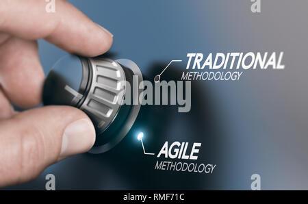 Hombre girando la perilla a la evolución de la metodología de gestión de proyectos, desde la tradicional hasta agile PM. Imagen compuesta entre una mano y una fotografía 3D backgrou