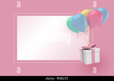 Representación 3D de un fondo de color rosa pastel con una caja de regalo y parte globos cerca de un bloque blanco o texto.