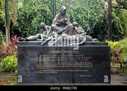 Acordaos - Manila 1945 monumento conmemorativo dedicado a todos los inocentes vidas perdidas durante la batalla de liberación WW2 Intramuros, Manila, Filipinas