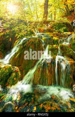 Preciosas cascadas en el parque nacional de Plitvice en bosque en el soleado día de otoño, Croacia