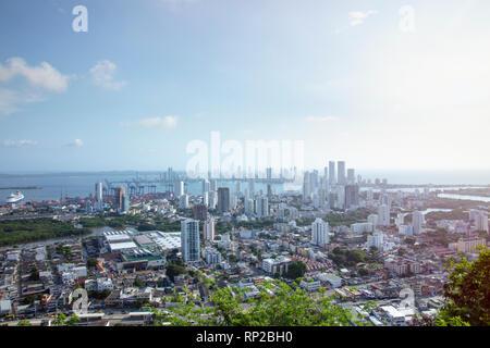 Colombia, Costa Caribe, los distritos centrales de negocios de manga y Bocagrande en el centro de Cartagena