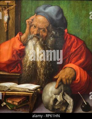 """Pintura 'Saint Jerome"""" por el pintor renacentista alemán Alberto Durero (1521) en exhibición en el Museo Nacional de Arte Antiguo (Museu Nacional de Arte Antiga en Lisboa, Portugal."""
