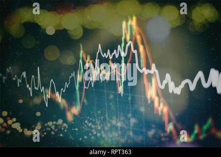 Empresarial, financiero o el fondo de la bolsa. Gráfico de negocios en la bolsa de intercambio financiero