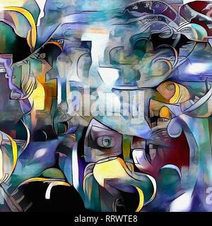 Colorido pintura moderna abstracta. La ilusión de la existencia o la TV zombie