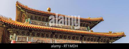 Los antiguos palacios de la Ciudad Prohibida en Beijing,China banner, formato largo Foto de stock