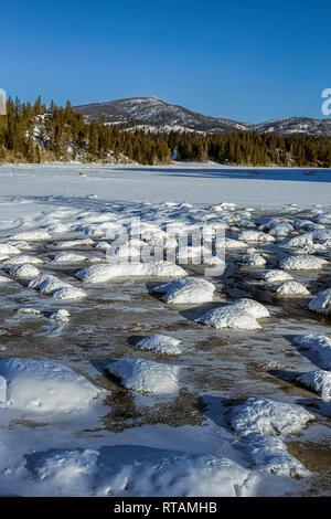 Una foto de un paisaje escénico fría de invierno en un día claro en Hauser, Idaho.
