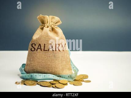 Bolsa de dinero con la palabra salario y cinta métrica. Los recortes salariales. El concepto de beneficio limitado. La falta de dinero y de la pobreza. Los pequeños ingresos. La reducción de los salarios.