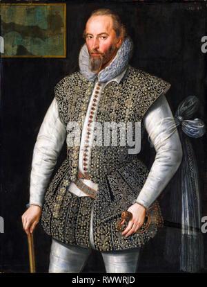 Sir Walter Raleigh (c. 1552-1618), retrato, 1598, William Segar Foto de stock