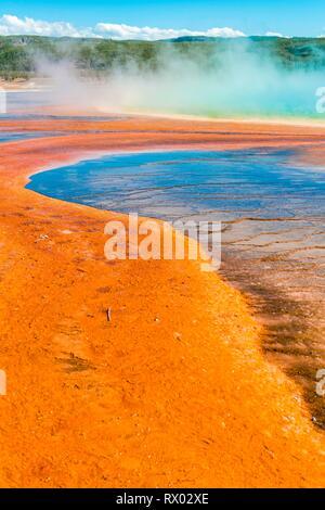 Los depósitos minerales de color en el borde del muelle de vapor caliente, vista detallada, Grand Prismatic Spring, Midway Geyser Basin