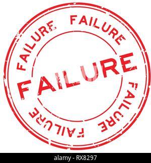 Grunge rojo palabra fracaso ronda el sello de caucho sello sobre fondo blanco.