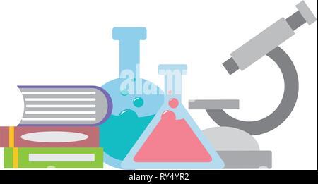 Microscopio matraz libros ciencia
