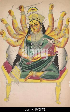 Ganesha-Janani (Madre de Ganesha), 1800. La India, Calcuta, Kalighat, pintura del siglo XIX. La tinta, el color y la pintura de color plateado en el papel; la pintura sólo: 44,2 x 27,9 cm (17 3/8 x 11 pulg. Foto de stock