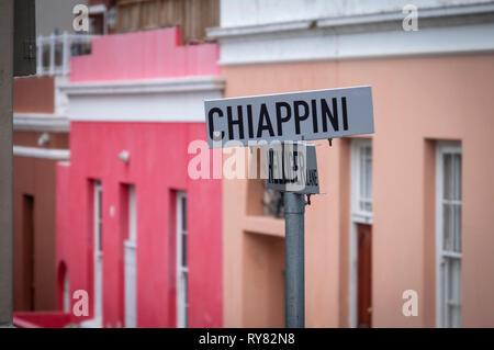 Calle signo en Bo Kaap, Ciudad del Cabo, Western Cape, Sudáfrica Foto de stock