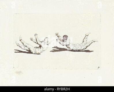 Arlequín payaso moverse sin usar sus brazos y piernas, Gerardus Josefo, Pieter Xavery Schenk (II), 1728