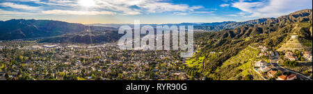 North Hollywood Burbank Glendale antena de Pasadena en Los Ángeles la Autopista Ciudad de montaña alberga, California