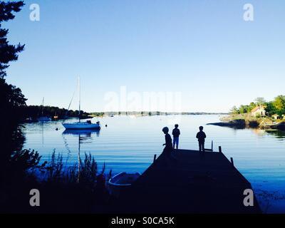 Midsummers la víspera en el archipiélago de Estocolmo.
