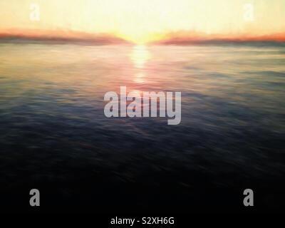 Resumen de un amanecer en el horizonte del océano Atlántico en Myrtle Beach South Carolina USA.