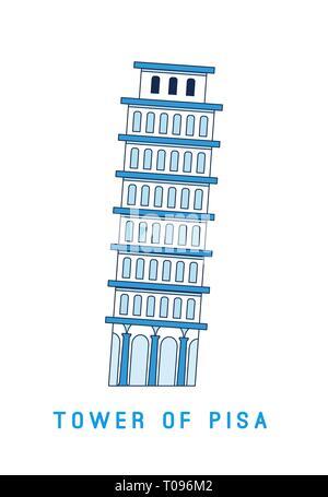 Arte lineal Torre Inclinada de Pisa, Italia, Unión famosa vista, ilustración vectorial en estilo plano.