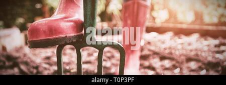 Bajo la sección de mujer vistiendo rosa funda de caucho con la jardinería permanente horquilla en la suciedad