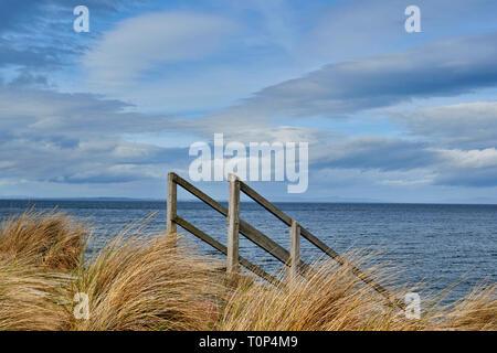 Playa de Findhorn Moray Firth Escocia pastos marinos y una escalera de madera que conduce al mar