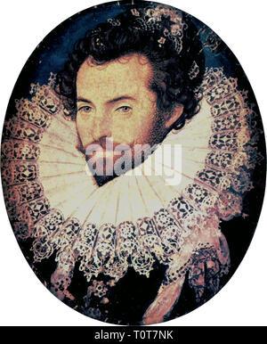 Sir Walter Raleigh, 1585 por Nicholas Hilliard Foto de stock