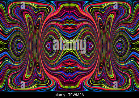 Líneas y curvas de color crea fantásticas imágenes. Pintura abstracta - cuadros psicodélico. Foto de stock