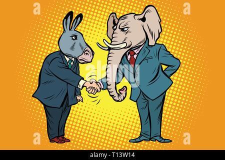 Burro elefante sacude la mano. Los demócratas republicanos