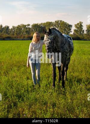 Jockey girl es acariciar un caballo en abrir manege. Bonita chica jockey está de pie cerca de un caballo besos y abrazos su Foto de stock