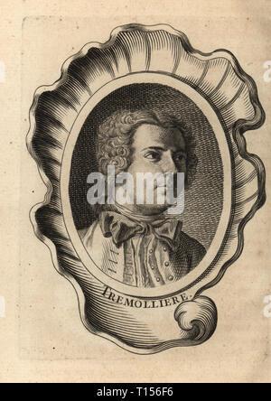 Retrato de Pierre Charles Tremolieres, pintor francés 1703-1739. Tremolliere. Grabado de Antoine-Joseph Copperplate Dezallier d'Argenville's Abrege de la vie des peintres fameux plus, las vidas de los más famosos artistas, de Bure l'Aine, París, 1762.