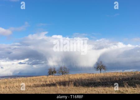 Campos Verdes y cielos azules a lo largo de Hessen en Alemania