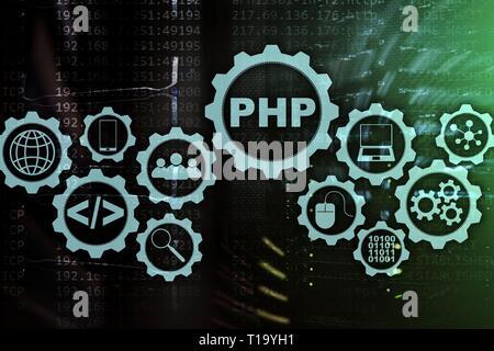 Lenguaje de programación PHP. Programación y desarrollo de las tecnologías de codificación.Cyber espacio concepto