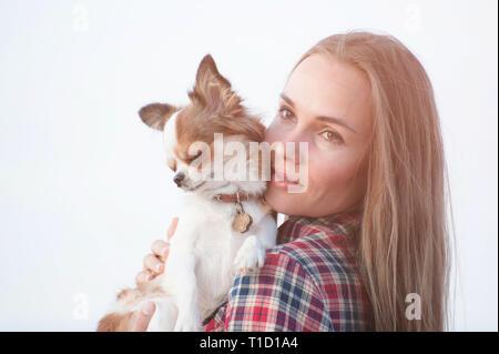 Retrato de linda chica joven con su pequeño chihuahua perro sobre fondo brillante Foto de stock