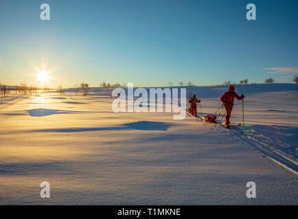 Grupo de esquí cross country atravesando la meseta de Finnmarksvidda. Finnmark, Noruega del ártico.