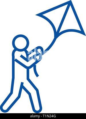Icono de línea kite volador concepto. Volar cometas vector plana símbolo, signo, esbozo de la ilustración.