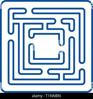 Ruta en el laberinto line icono concepto. Ruta en el laberinto de símbolos vectoriales planas, firmar, esbozo de la ilustración.