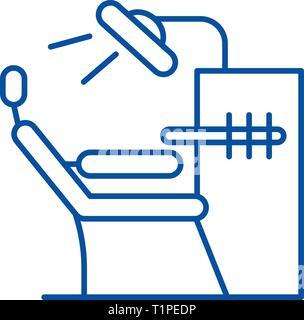 Icono de línea oficina dentista concepto. Dentista oficina piso vector símbolo, signo, esbozo de la ilustración.