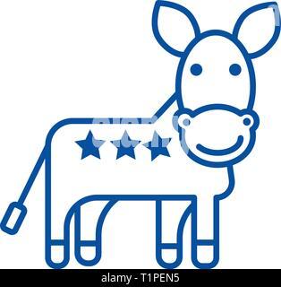 Burro, EE.UU., icono de la línea del partido demócrata concepto. Burro, EE.UU., el partido democrático de símbolos vectoriales planas, firmar, esbozo de la ilustración.