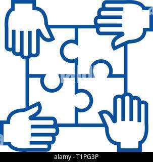 Puzzle con cuatro manos,asociación icono línea concepto. Puzzle con cuatro manos,asociación de símbolos vectoriales planas, firmar, esbozo de la ilustración.