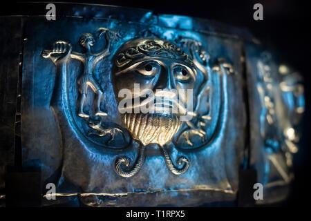 Copenhague. Dinamarca. El caldero de Gundestrup, ricamente decorado Silver Bowl, el Museo Nacional de Dinamarca.